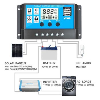 100A/60A/30A/10A 12V 24V Auto Solar Charge Controller PWM Controllers LCD Dual USB 5V Output Solar Panel PV Regulator solar charge controller dual usb lcd auto solar cell panel charger regulator mppt 60a 30a 40a 50a 100a 12v 24v auto adapt