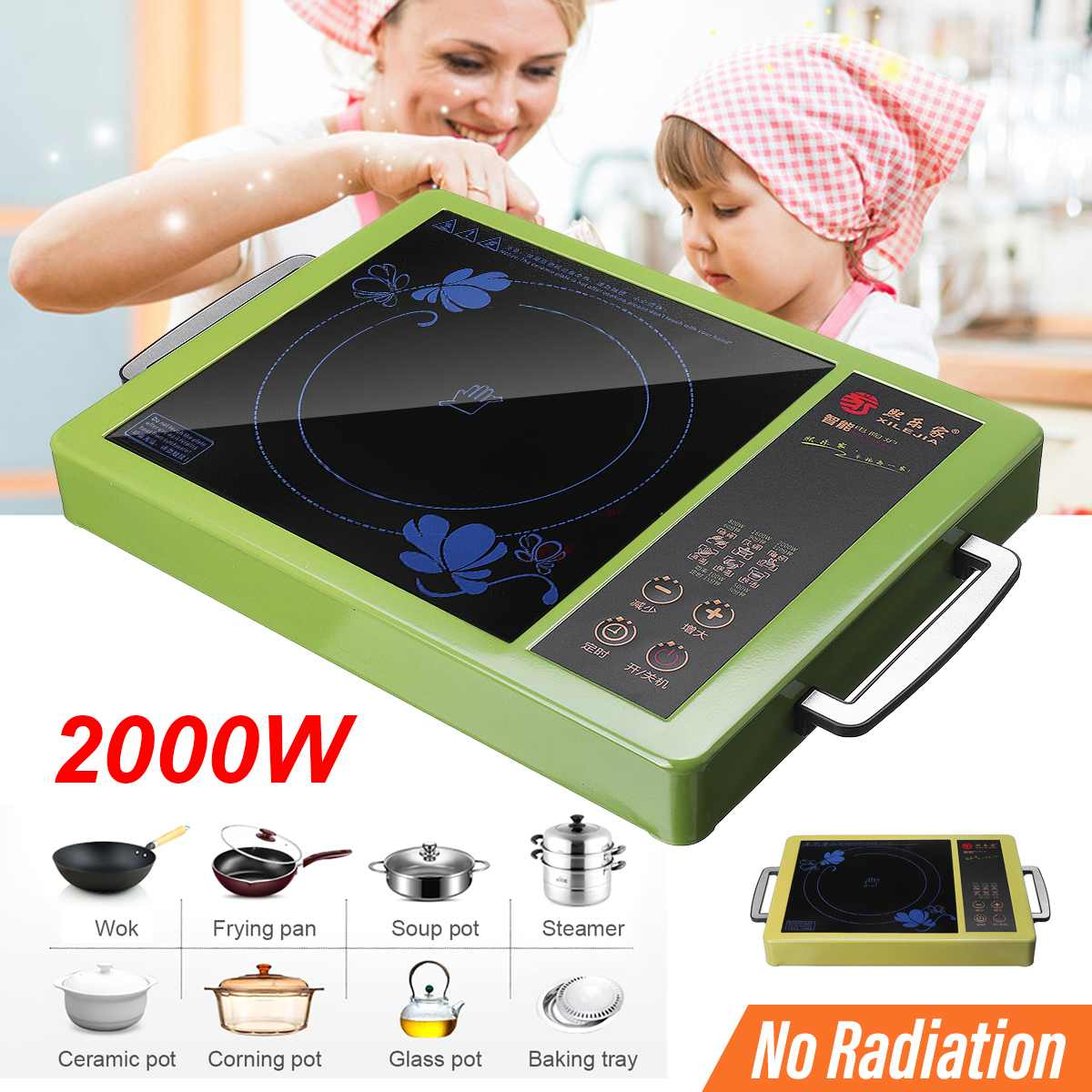 2000W Electrical Magnetic Waterproof Induction Cooker Hob Oven Hot Pot Stove With Timer Ceramic Heating Furnace Cooktop Plate