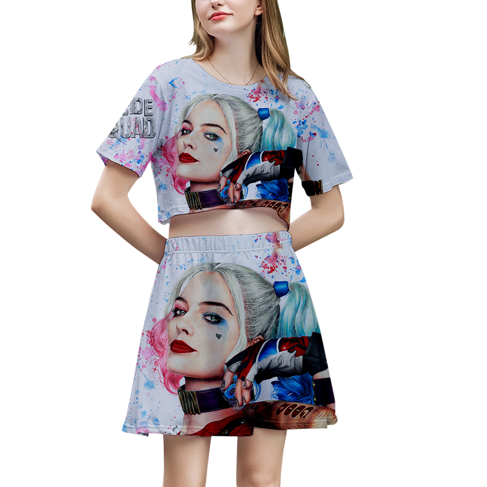Birds Of Prey Women's Sets Two Pieces Sets Crop Tops And Skirts Set 3D Printed Harley Quinn Joker 2 Piece Set Women Clothing