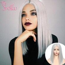 SOKU-Peluca de cabello sintético liso para mujer, cabellera artificial liso de 14 pulgadas, color gris claro, con encaje ombré, parte media resistente al calor, Bob corto