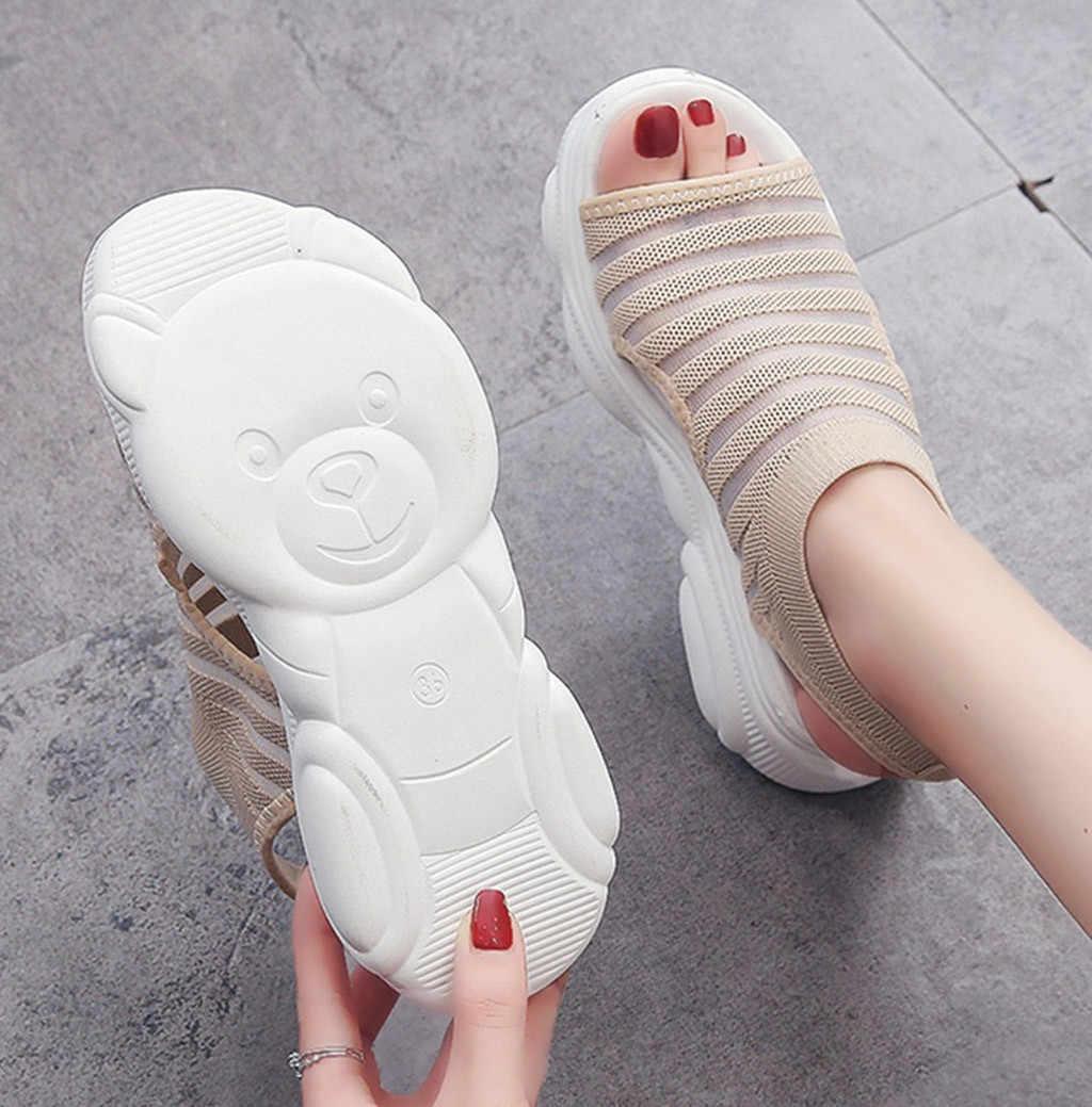 Jaycosinプラスサイズの女性のサンダル女性の靴の女性の夏ウェッジ通気性メッシュサンダルの女性フラットサンダル女性sandalias