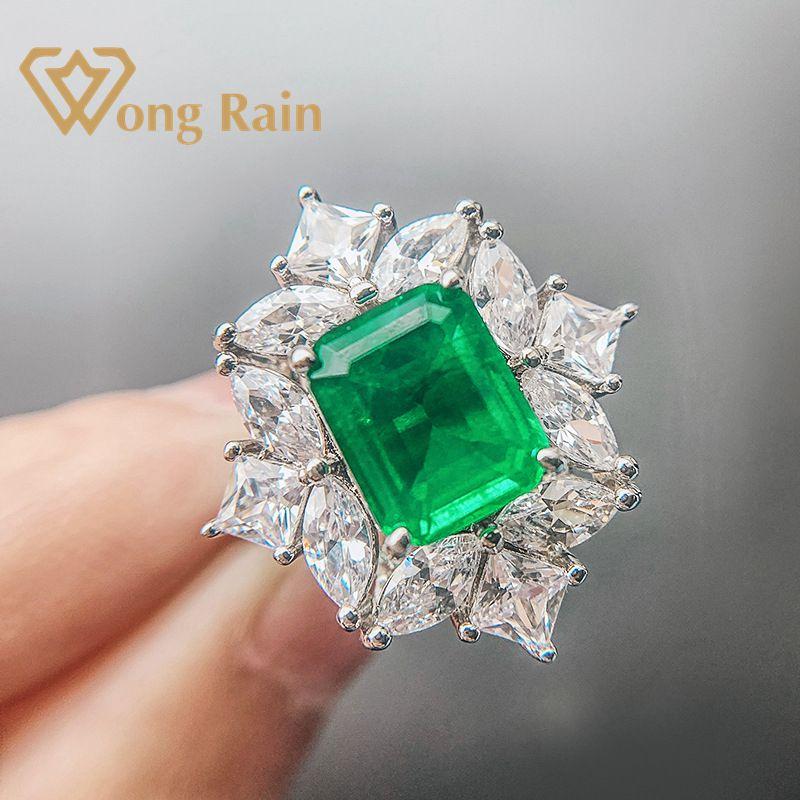 Wong Rain Vintage 100% 925 Sterling Silver Created Moissanite Emerald Gemstone Wedding Engagement Ring Fine Jewelry Wholesale