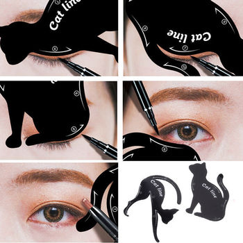 2Pcs Eye Liner Makeup Cat Eye Eyeliner Stencil New Design Eyeliner Stencil Models Eyebrow Eyes Liner Template Shaper Tools