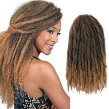 Шелковистые пряди Marley косы для наращивания волос Синтетические Омбре афро кудрявые вязанные косички оптом 18 дюймов