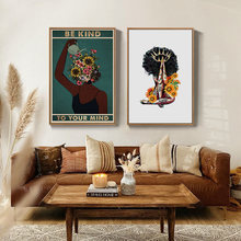 African Black Woman Canvas Painting Be Kind To Your Mind Yellow Daisy Wall Art Posters and Prints Vintage Living Room Home Decor