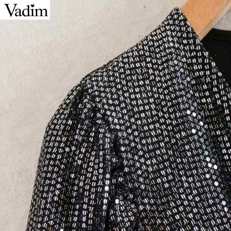 Vadim Nữ Shinny ĐÍNH HẠT CƯỜM Mini V Sâu Cổ Co Giãn Nữ Thời Trang Gợi Cảm Vỏ Bọc Sang Trọng Áo Vestidos QD107