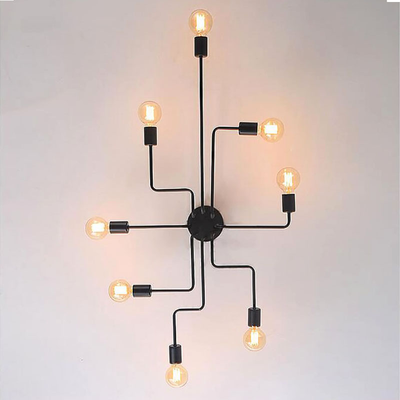 4 6 8 Heads Multiple Rod Wrought Iron Ceiling Light Retro Industrial Loft Nordic Dome Lamp 4/6/8 Heads Multiple Rod Wrought Iron Ceiling Light Retro Industrial Loft Nordic Dome Lamp for Home Decor Dinning Cafe Bar