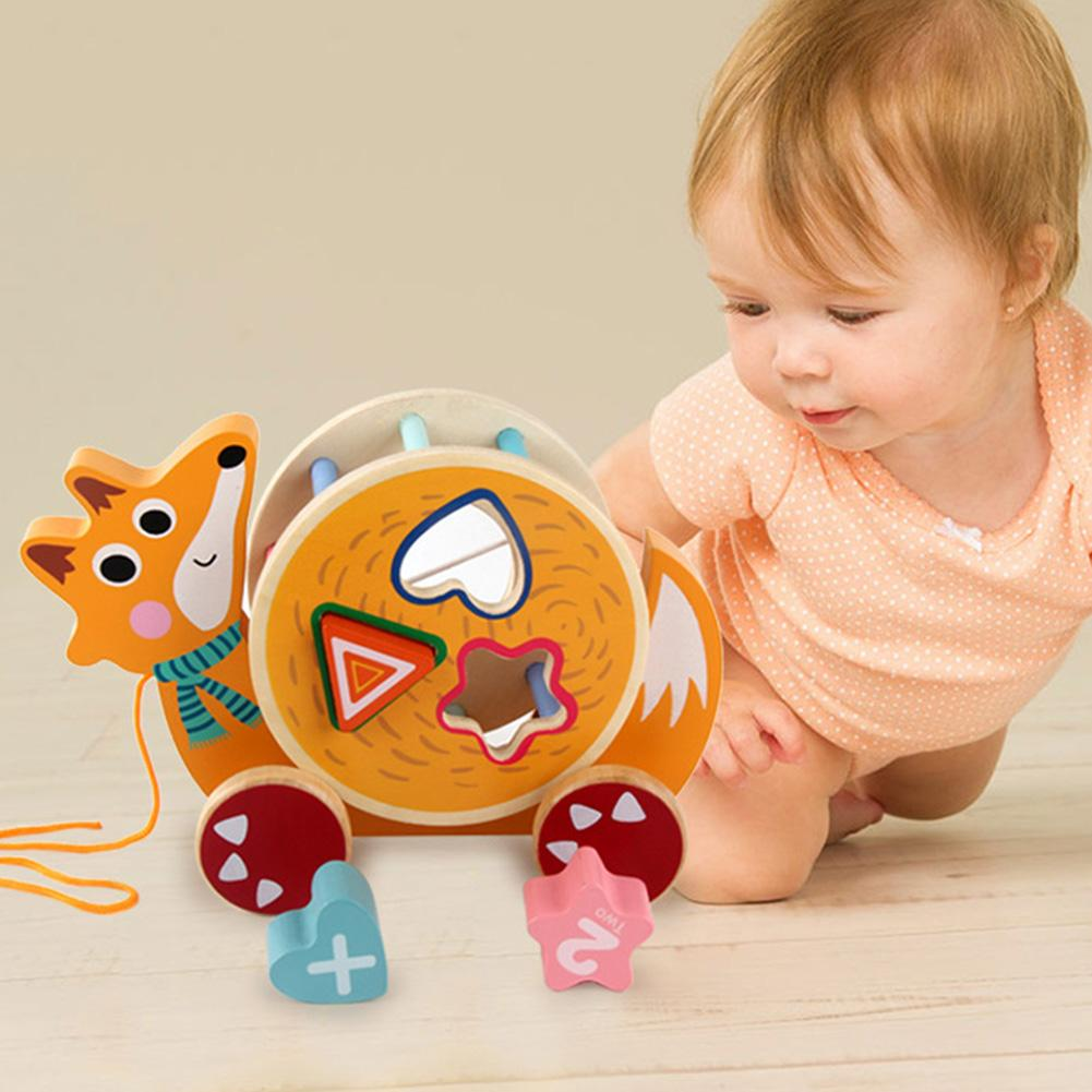 Cartoon Kide Baby Wooden Pull Along Car Toy Snail Fox Pull Along Car Shape Pairing Blocks Education Toys For Kids