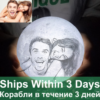 Customized Photo Moon Lamp personalized Kids Wife's Gifts Night Light USB Charging Tap Control 2/3 Colors Moon Light