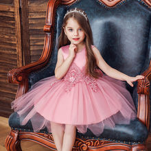 Платье с вышивкой для девочек; Сетчатое платье; принцессы большим