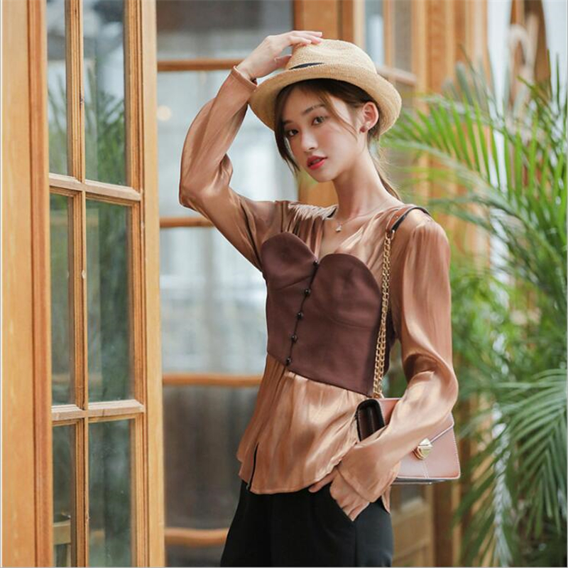 2020 spring summer new design feeling of high quality chiffon shirt, European and American style designer chocolate women shirt