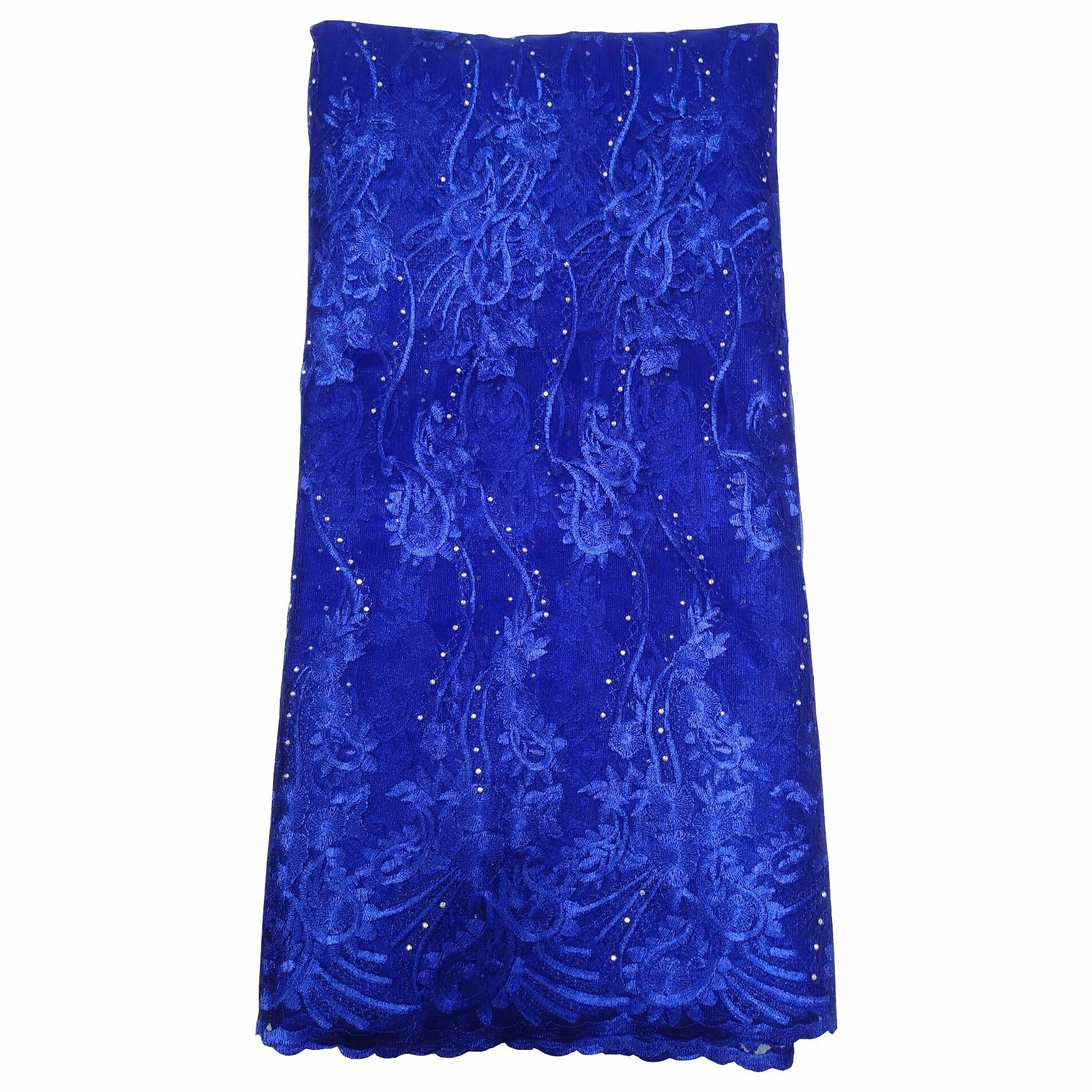 2019 High Quality African French Lace Fabric Blue Swiss Voile Lace In Switzerland With Stones Lace Fabric