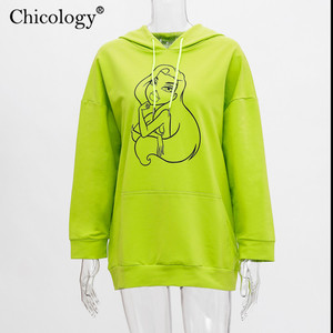 Image 5 - Chicology neon girl pattern print oversize streetwear hoodies pullover long sleeve kpop clothes 2019 autumn winter female top