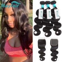 Mayfair גוף גל חבילות עם סגירת Brazillian שיער חבילות עם סגירת 3/4 חבילות רמי שיער טבעי חבילות עם סגירה