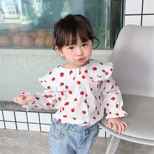 1-7T Strawberry Print Cute Shirt For Girls Toddler Kid Baby Clothes Ruffles Long Sleeve Sweet Blouses Elegant Top Spring Outfit