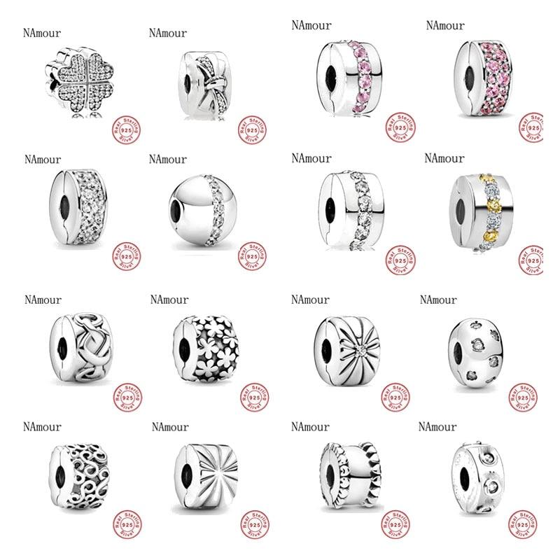 Charms Silver 925-Bracelet-Bead Jewelry-Making Leaf-Star-Clip Diy Beads Clover Original Pandora