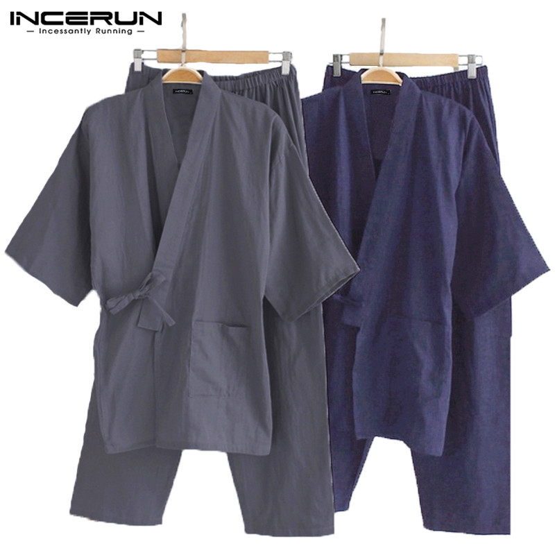 INCERUN Mens Pajamas Sets Japanese Kimono Loose Male Robe Short Sleeve Sleepwear Man Cotton Comfortable Pajamas Bathrobes L-5XL