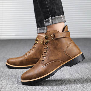 Boots Men Warm Shoes Military Winter Outdoor-Tube Breathable Non-Slip's Tooling Buckle-Strap