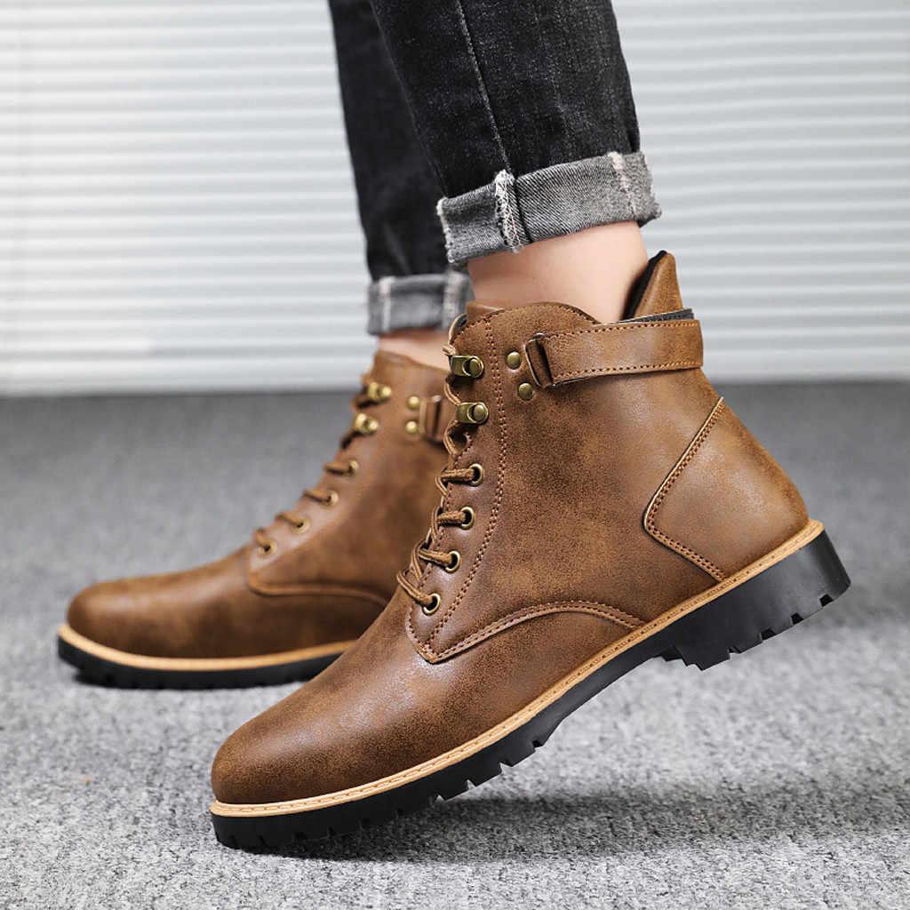 Hiver chaussures chaudes bottes décontracté en plein air Tube bottes porter boucle sangle garder au chaud antidérapant outillage militaire respirant bottes