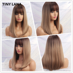 Image 2 - TINY LANA Long Wave Women Wigs with Bangs Ombre Brown Blonde High Temperature Fiber Synthetic Wigs for Black White Women Cosplay