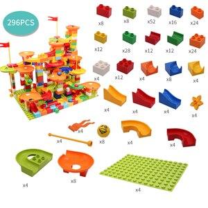 Image 2 - Marmor Rennen Run Block Große Größe Kompatibel Duploed Bausteine Kunststoff Trichter Rutsche DIY Montage Ziegel Spielzeug Für Kinder