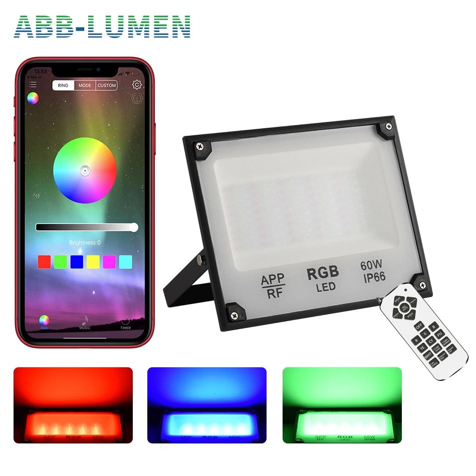 RGB LED Flood Light 40W 60W Reflector Led IP66 Outdoor Led Light 110V 220V LED Outdoor Projector Outdoor Lighting Led Spotlight