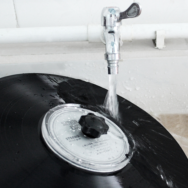 LP Vinyl Record Cleaner Clamp Record Label Saver Protector Waterproof Acrylic Clean Tool With Cleaning Cloth