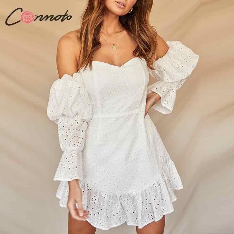 Conmoto kobiety biały haft krótka sukienka kobieta moda Sexy Off Shoulder bufiaste rękawy Summer Beach Holiday Vestidos