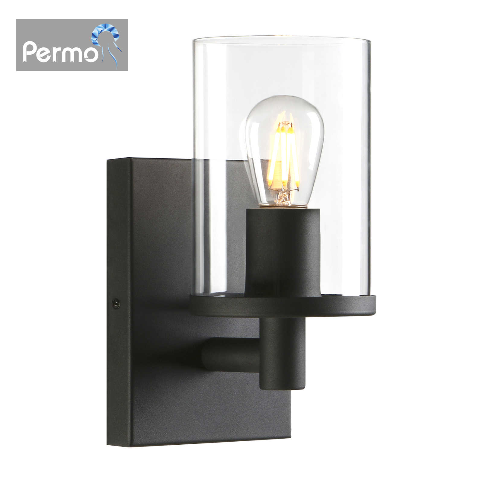 Permo Glass Wall Sconce Bathroom Vanity Light With 3 9 Inches Clear Glass Light Shade Wall Lamps Aliexpress