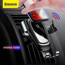 Baseus araç telefonu tutucu Qi hızlı kablosuz şarj için iPhone X Max 4 6.5 inç cep telefonu standı hava çıkış yerçekimi oto braketi