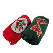 Хлопок полотенце бант и красная птица стиль зеленый красный свадебное полотенце Подушка как рождественский подарок