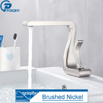 POIQIHY Chrome Basin Faucet Artistic Design Deck Mounted Bathroom Sink Water Tap Single Handle Cold Hot Basin Mixer Tap One Hole 8