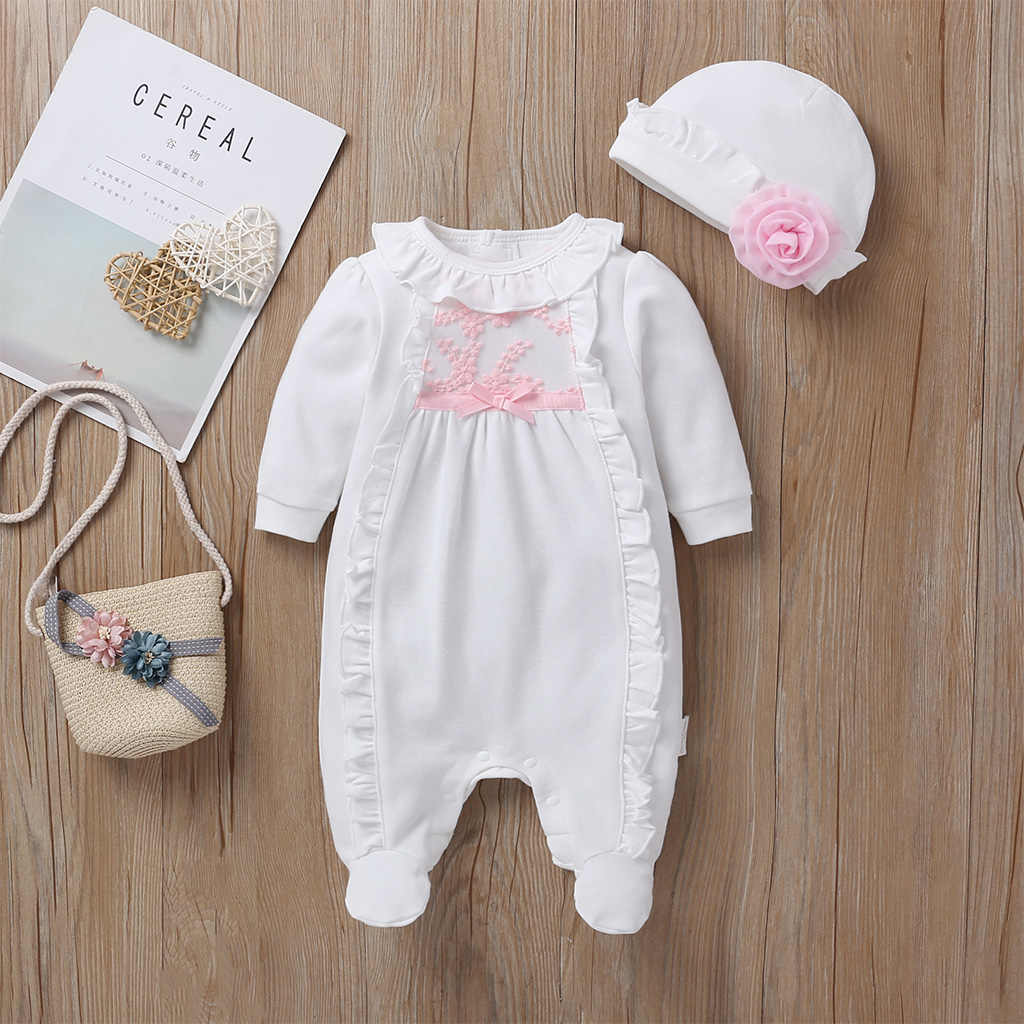 Goocheer Princess Style Baby Girl Clothes Girls Clothing Suit Lace Rompers+Hats Baby Clothing Sets Infant Jumpsuit Gifts