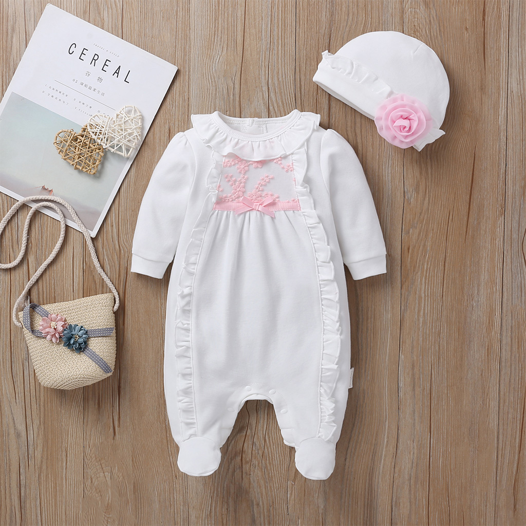 Goocheer Princess Style Baby Girl Clothes Girls Clothing Suit Lace   Rompers  +Hats Baby Clothing Sets Infant Jumpsuit Gifts