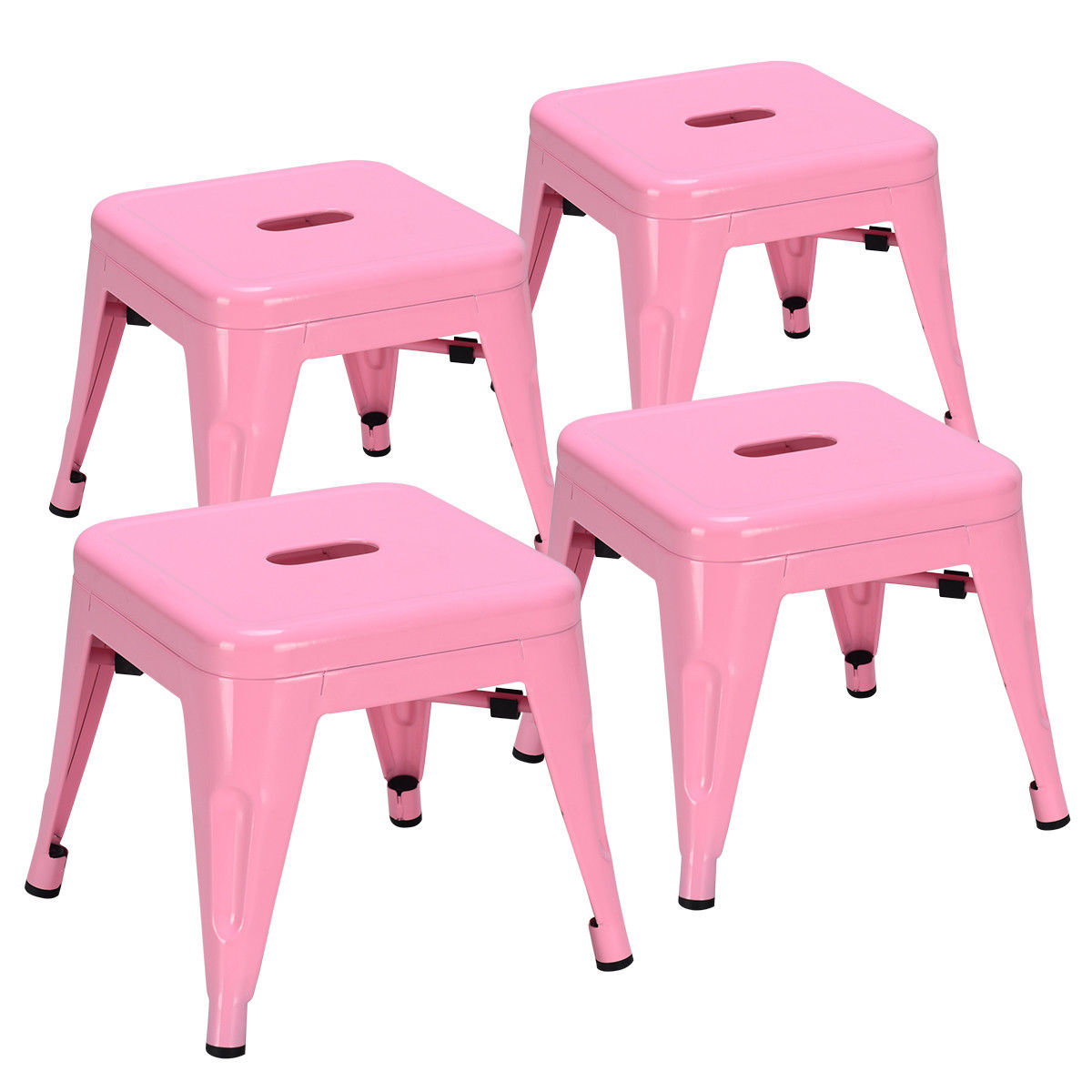Costway Set Of 4 Kids Stool Stackable Metal Children Toddlers Lightweight Pink