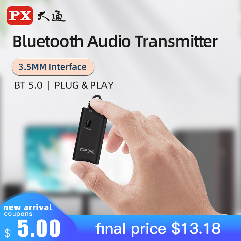 Transmisor de Audio PX Bluetooth 5,0 inalámbrico para PS4, TV, hogar, estéreo, adaptador de Audio de 3,5mm + cargador USB