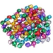 100 pièces/lot 6/8/12MM mélange couleurs perles en vrac petites clochettes décoration de noël cadeau en gros coloré bricolage artisanat à la main