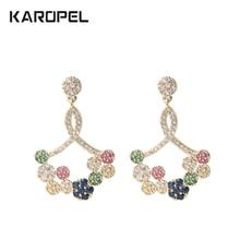Cubic Zircon Flower stud Earrings Luxury Rainbow CZ Crystal Long Earrings For Women Party Jewelry недорого