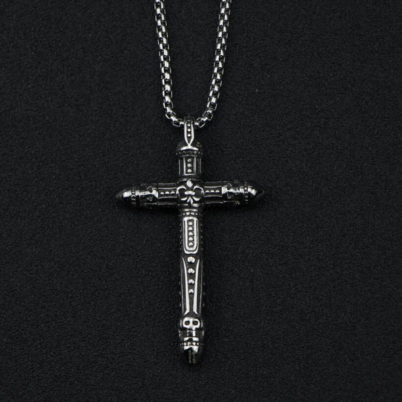 EDC Outdoor Titanium Steel Cross Necklace Portable Tools Self Defense Punk Locomotive Male Broken Window Personal Safety Tools