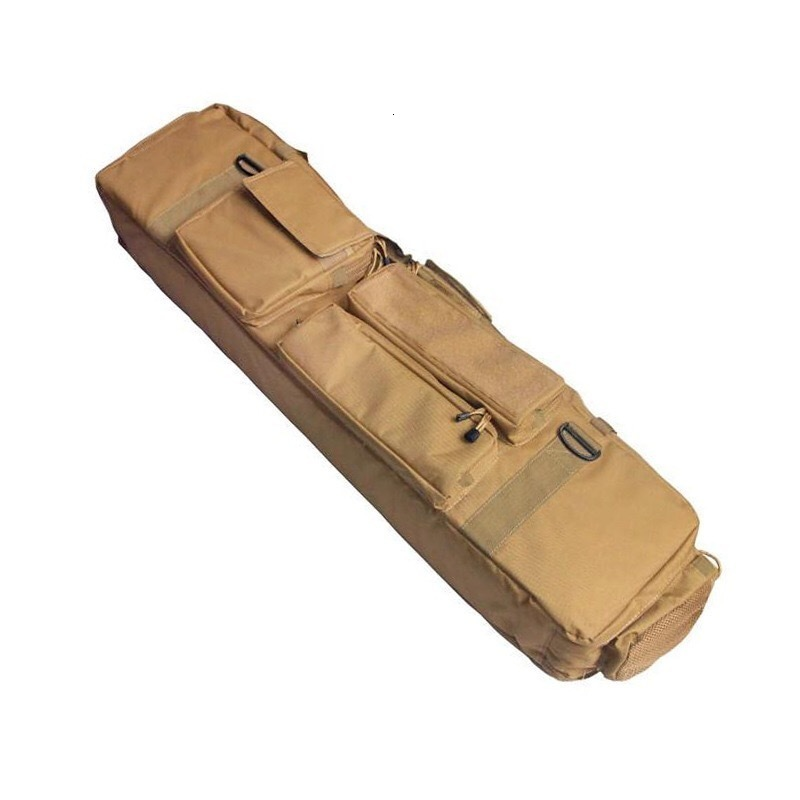 Brown Tactical Bag Double Package Capacity Side View Showing Pockets