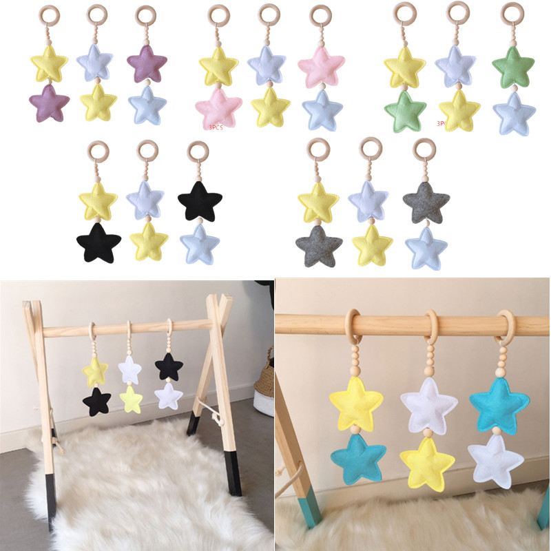 OOTDTY 3 Pcs/set Nordic Wooden Beads Hanging Toys Baby Play Gym Baby Gym Pendant Cartoon Star Shape Children Girl's Room Decor