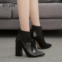 BYQDY Autumn 2019 Women Side Zipper Thick Heel Ankle Boots Fashion Pointed Toe Keep Warm Winter Shoes Solid Black Russian