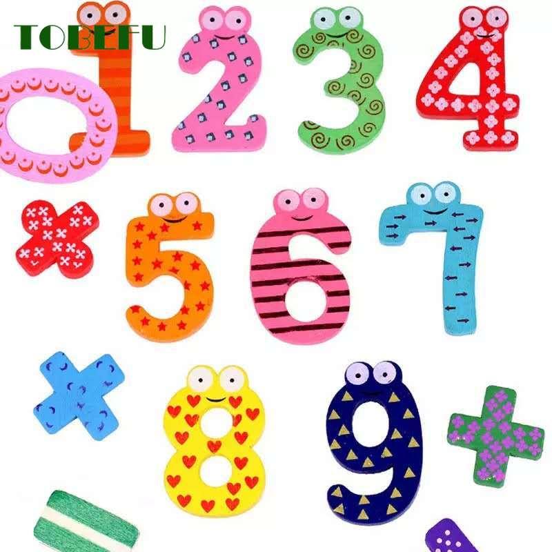 15pcs/set Montessori Baby Number Refrigerator Fridge Magnetic Figure Stick Mathematics Wooden Educational Kids Toys For Children