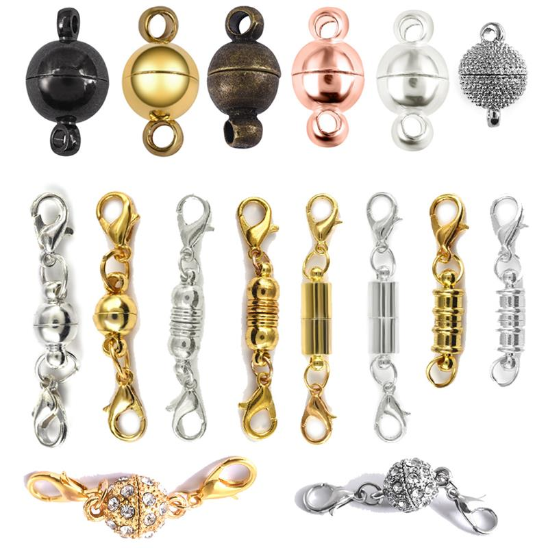 10pcs Round Magnetic Clasps for Bracelet Necklace Making Fasteners Clasp Buckle Jewelry Connector Findings Accessories Supplies