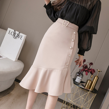 Korean Fashion Women Skirts Elegant High Waist Mermaid Skirt Plus Size Woman Irregular Beading Lady Womens XL