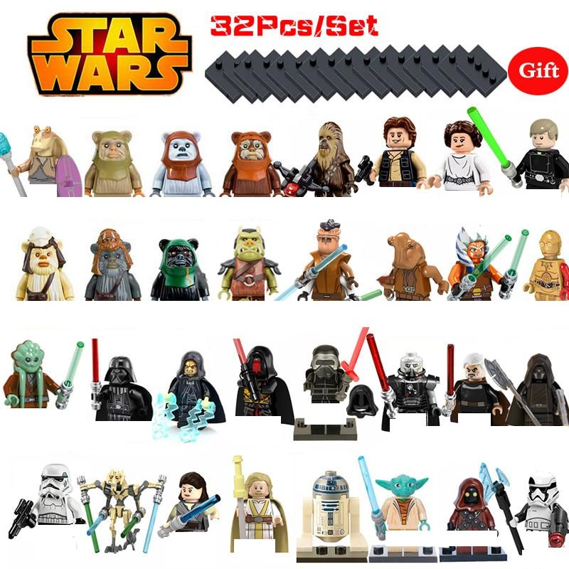 32Pcs/Set Star wars Figures Leia Yoda Han solo starwars Knight Sith Darth Vader Luke Anakin Stormtrooper Bricks Toys for child