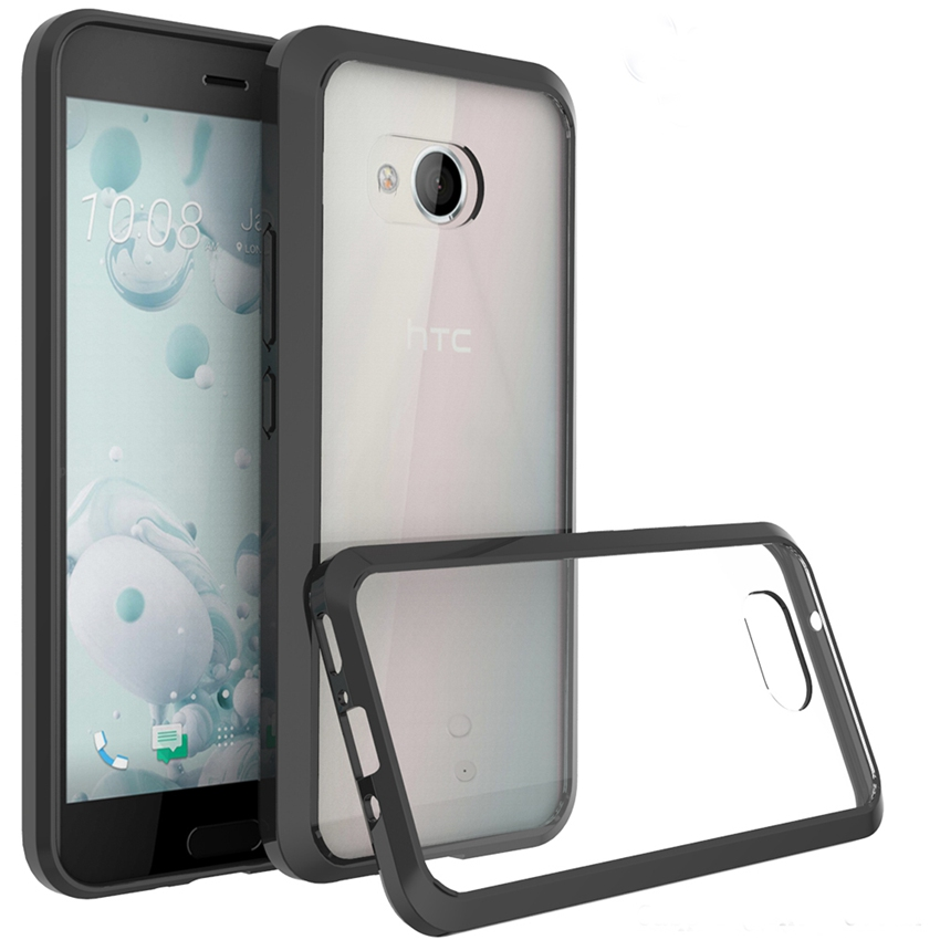 Μαλακή θήκη σιλικόνης TPU / PC για HTC U11 U 11 Transparent Fundas Capa Shell Shockproof Shell Clear Hard Back Cover For HTC U11 Ocean 5.5 ""