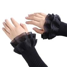 Sweater Detachable Wrist-Warmers Fake-Sleeves Lace Women Cuffs Decorative Flared Ruffles