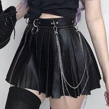 Goth Dark Grunge Punk Summer Gothic Skirts For Women Streetwear Zippper Rivet Pleated Metal Ring Skirt PU Sexy Hollow Out Casual