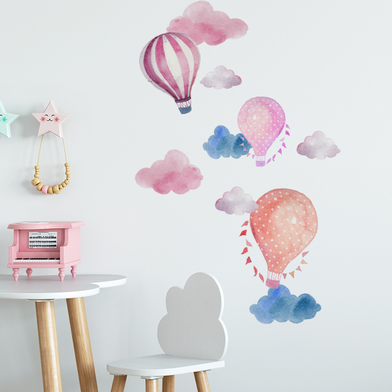 Cartoon hot air balloon cloud wall sticker for kids rooms decoration mural bedroom home decor decals nursery stickers wallpaper